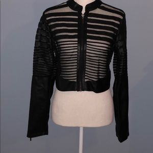 Faux leather and mesh crop top jacket Body Central